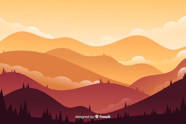 カラフルな山の風景の背景