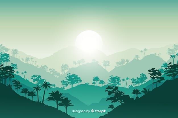 フラットなデザインの熱帯林の風景