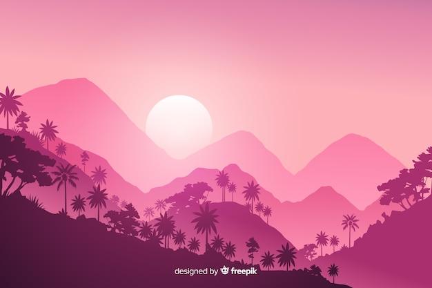 Розовый тропический лесной пейзаж в плоском дизайне