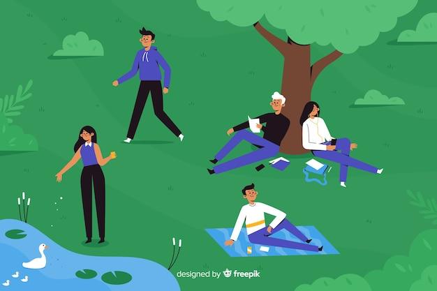 公園のフラットなデザインの人々