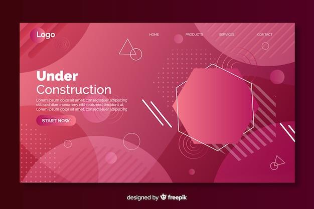 幾何学的図形を含む建設中のグラデーションランディングページ