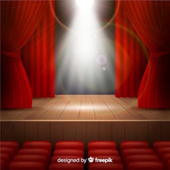 Реалистичная театральная сцена с прожекторами