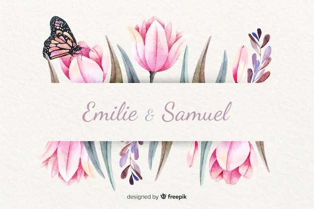 花の水彩画の背景を持つ結婚式の招待状