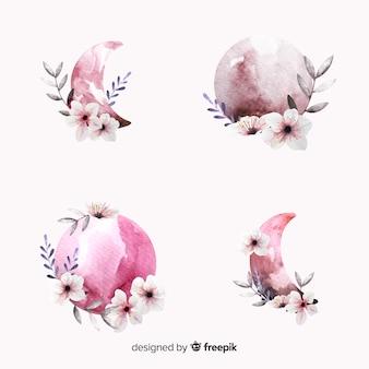 ピンクの色合いの水彩画ムーンコレクション