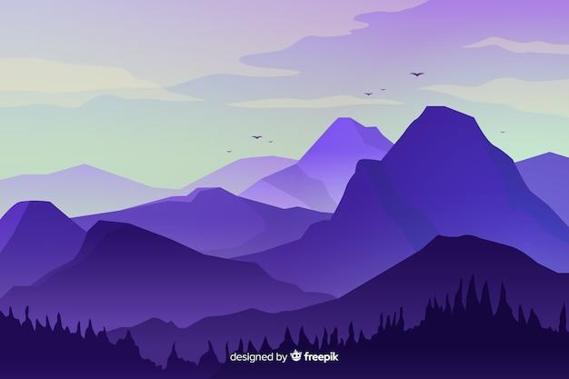 Горный пейзаж с высокими пиками