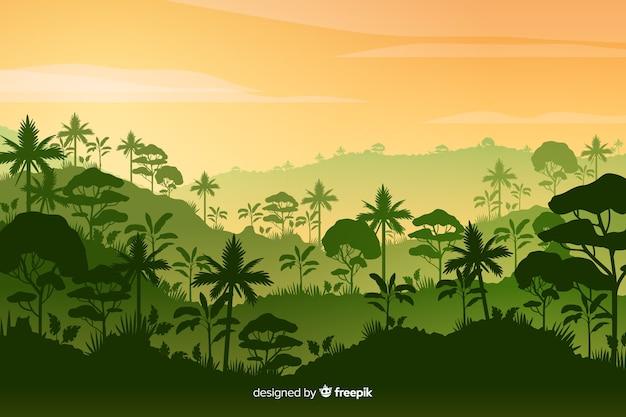 Тропический лесной пейзаж с густым лесом