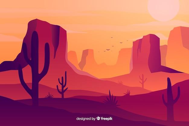 Горячий пустынный пейзаж фон с кактусами