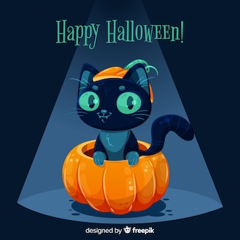 かわいいハロウィーン黒猫のフラットなデザイン