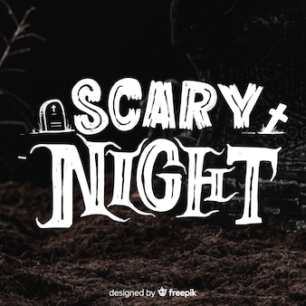 黒い怖い夜のレタリング