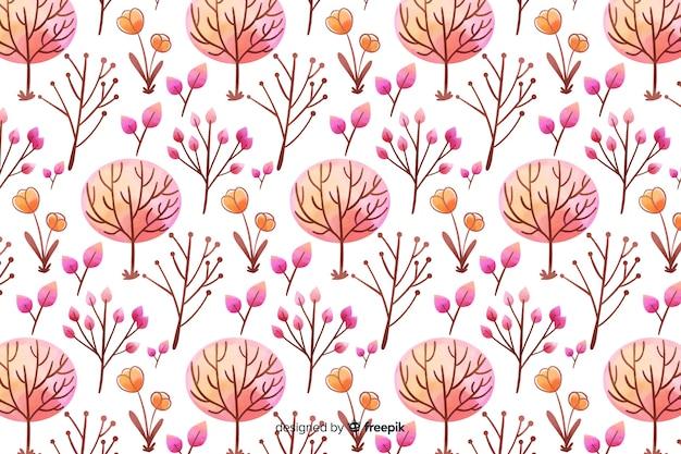 ピンクの色合いで単色の水彩花の背景