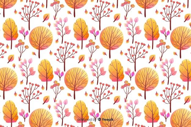オレンジ色の色合いで単色の水彩花の背景