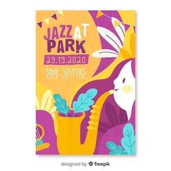Нарисованный от руки музыкальный джаз в парке фестиваля плакат