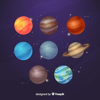 フラットなデザインの天の川の惑星コレクション