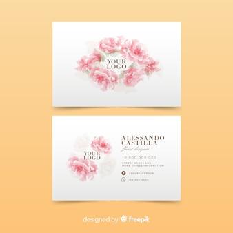 ピンクのバラ名刺テンプレート