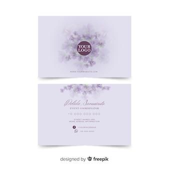 Акварель белый цветочный шаблон визитной карточки