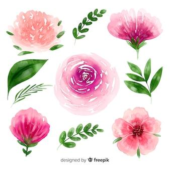Акварельные цветы и листья фон