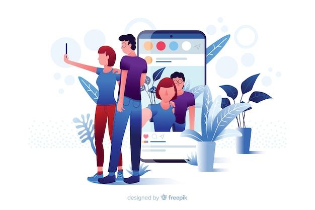 Пара, принимая селфи для публикации в социальных сетях