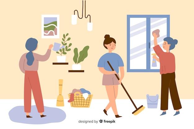 Молодые люди делают работу по дому в гостиной