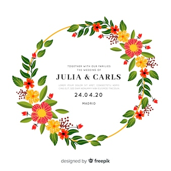 花のフレームとかわいい結婚式招待状