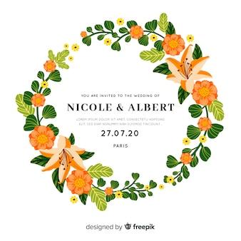 Винтажное свадебное приглашение с цветочной рамкой