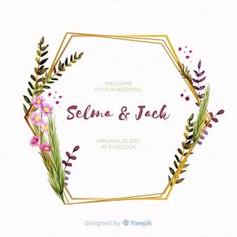 水彩花のフレームの結婚式の招待状