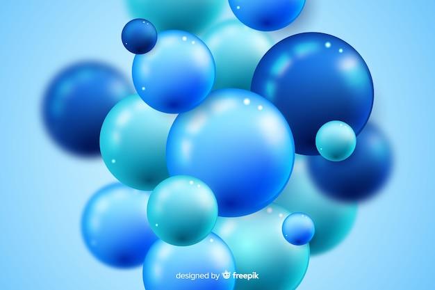 青の現実的な流れる光沢のあるボールの背景