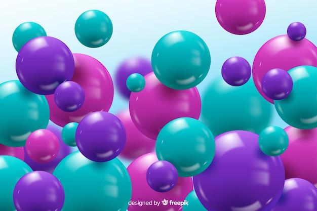 カラフルな現実的な流れる光沢のあるボールの背景