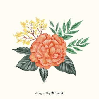 Акварель красивый коралловый цветок с листьями