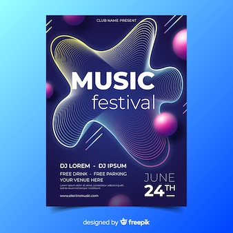 音楽祭の抽象的な音楽ポスターテンプレート