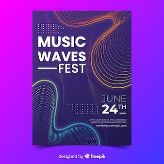 テンプレート抽象波音楽ポスター