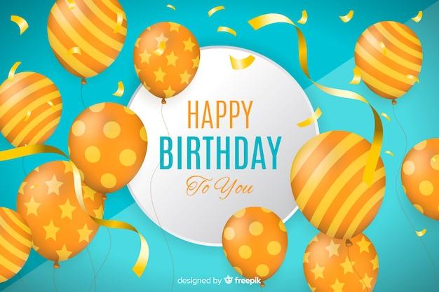 Реалистичная с днем рождения фон с воздушными шарами