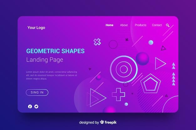 グラデーションの幾何学的図形のランディングページ