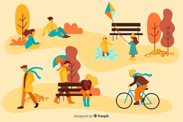 Люди в осеннем парке