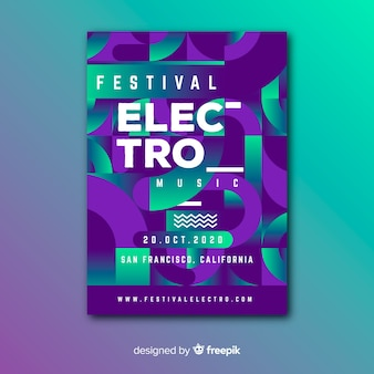 Электро фестиваль геометрической музыки постер шаблон