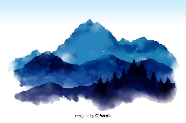 山の水彩ビューの背景