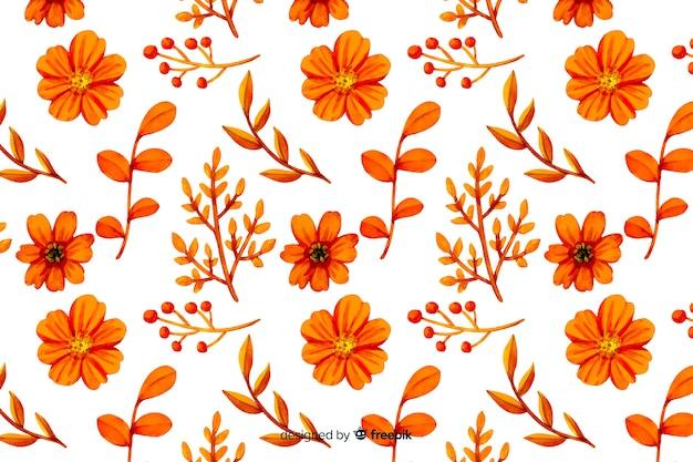 単色のカラフルな水彩花