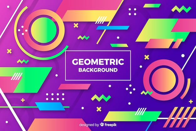 カラフルなグラデーションの幾何学的図形の背景