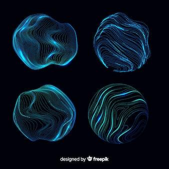 抽象的な青い粒子形状のコレクション