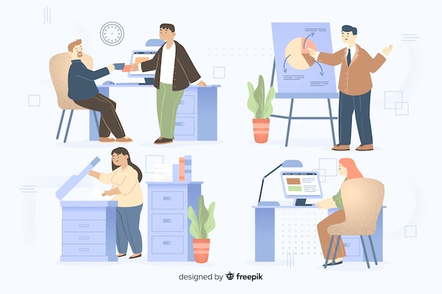 Люди, работающие в офисе установлены