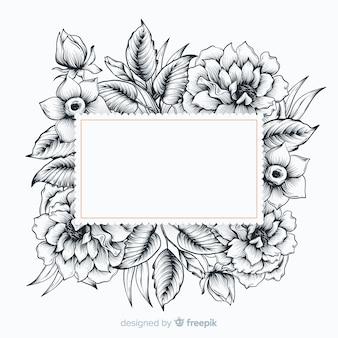 白紙の横断幕と現実的な手描きの花
