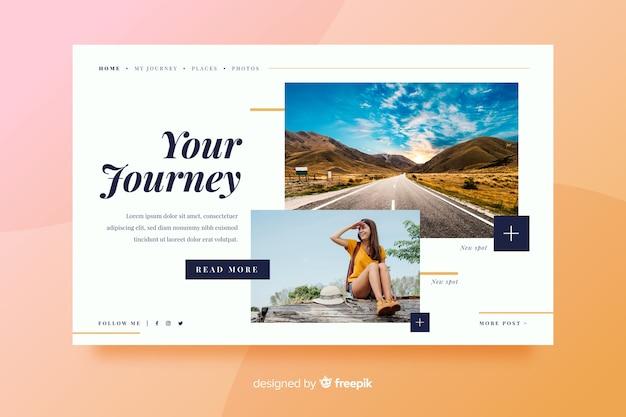 Целевая страница путешествия с дорогой и девушкой