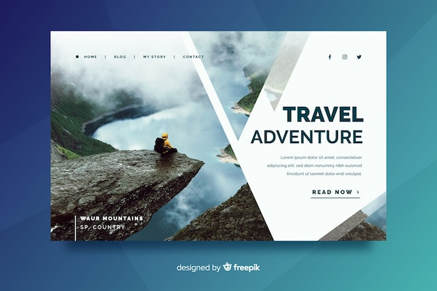 Целевая страница путешествия с красивым пейзажем