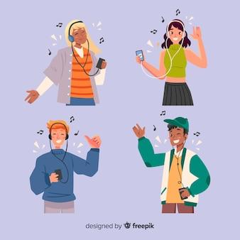 音楽を聴く若者