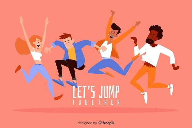 若い人たちがジャンプして楽しんで