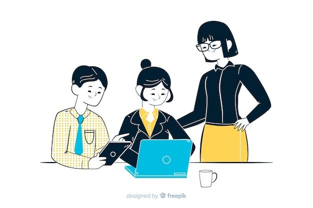韓国の描画スタイルのオフィスでビジネス人々