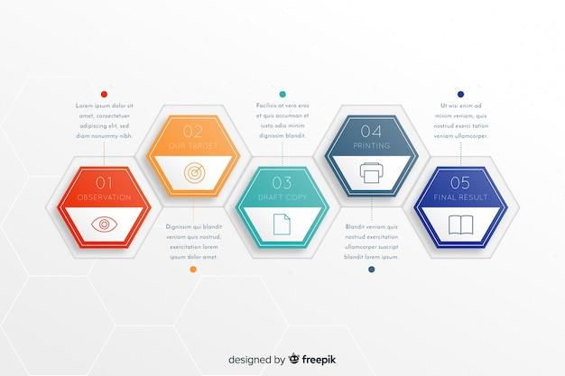 Шаблон красочные инфографики шаги