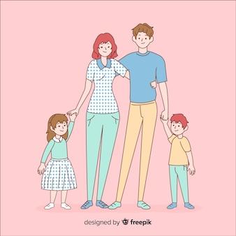 韓国の描画スタイルの若い家族