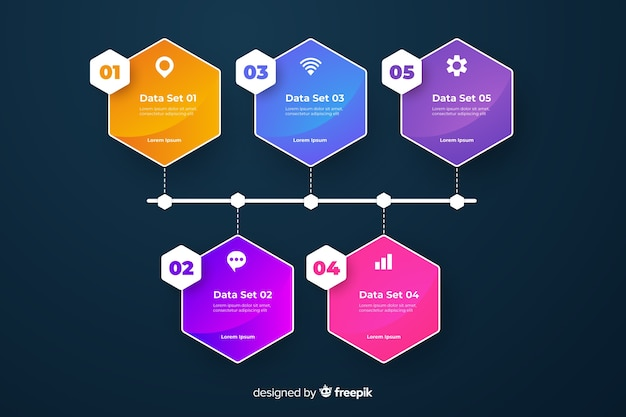 カラフルなグラデーションインフォグラフィックの手順