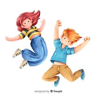 Молодые люди прыгают и веселятся