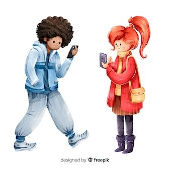 スマートフォンを保持している若者